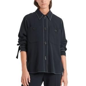 Contrast Stitch 2 Pocket Shirt Midnight Blue