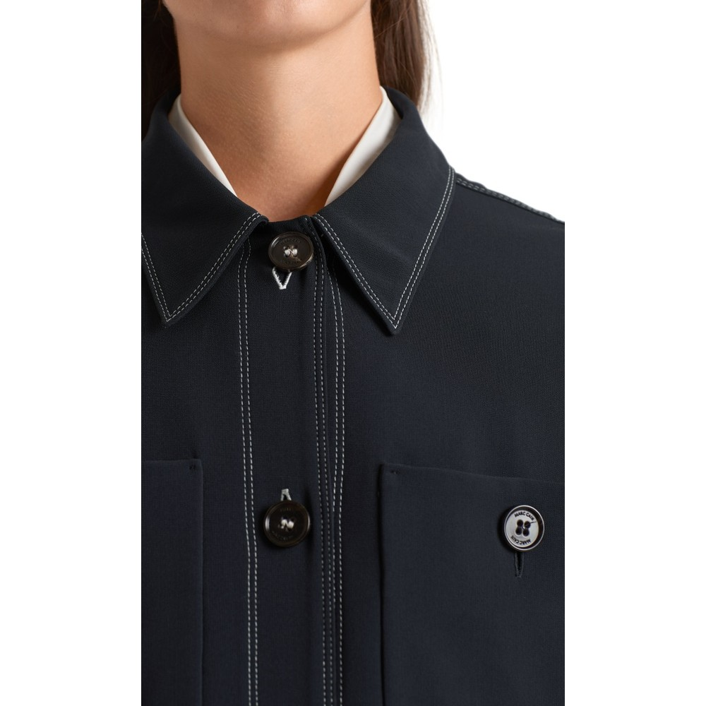 Marc Cain Contrast Stitch 2 Pocket Shirt Midnight Blue