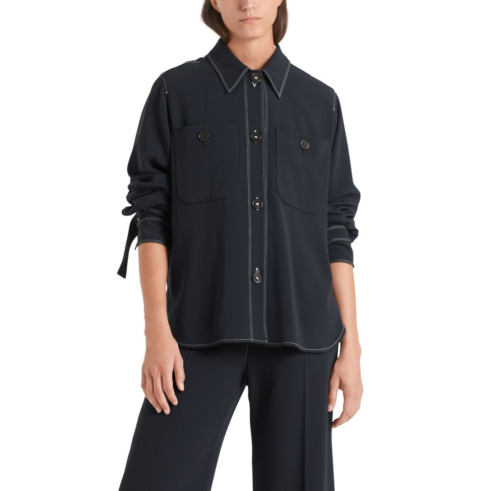 Marc Cain Contrast Stitch 2 Pocket Shirt Midnight Blue