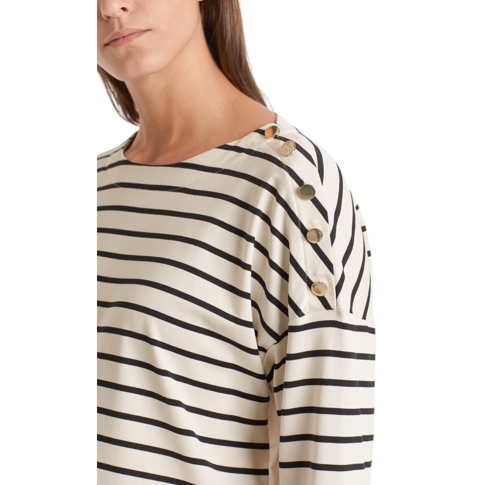 Marc Cain Nautical Stripe Button Shoulder Top Midnight Blue