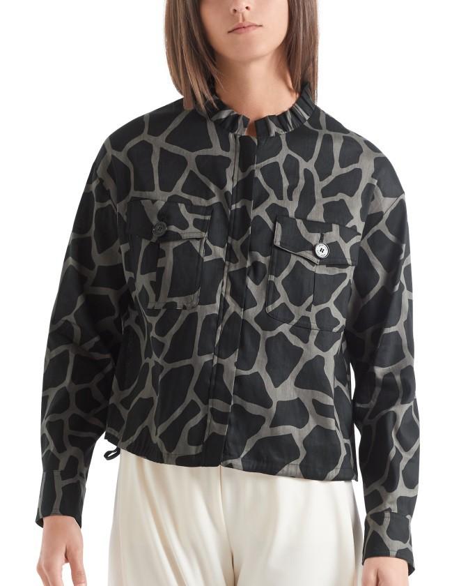 Marc Cain Giraffe Print Short Jacket Rhino
