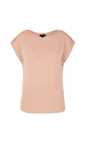 Marc Cain Wide Neck Contrast Knit Top Pale Skin