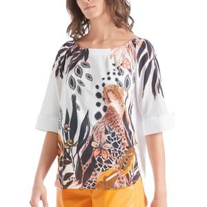 Cheetah Print Turn Up Sleeve Top Arabica
