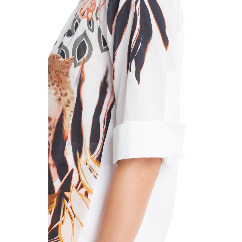 Marc Cain Cheetah Print Turn Up Sleeve Top Arabica