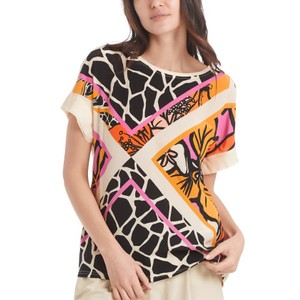 Marc Cain Giraffe Flower Triangles Tee Masala