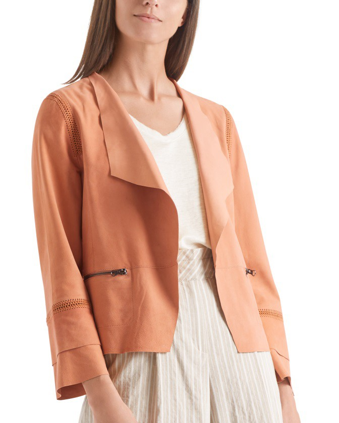 Marc Cain Reverse Leather Zip Pockets Jacket Henna
