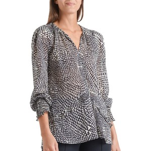 Marc Cain Printed Sheer Keyhole Neck Blouse Midnight Blue