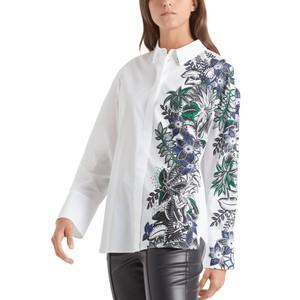 Half Tropical Print Shirt White