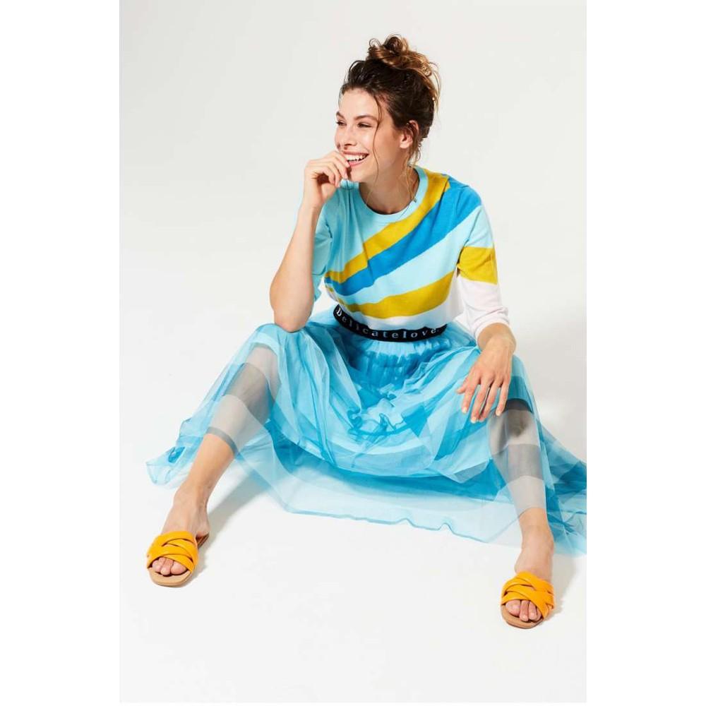 Delicate Love Emily Stripe Skirt Blue Wave/Ocean Blue