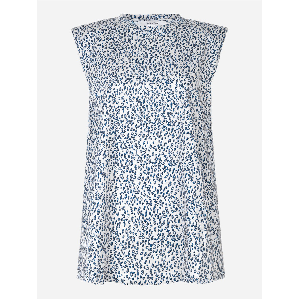 Munthe Flik Cheetah Print S/L Top Off White/Blue