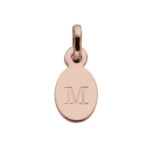 M - Oval Letter 18K Rose Gold Plated