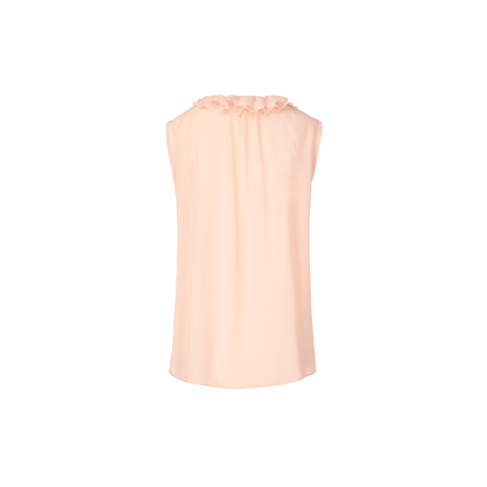 Marc Cain S/L Ruffled V Neck Top Pale Skin