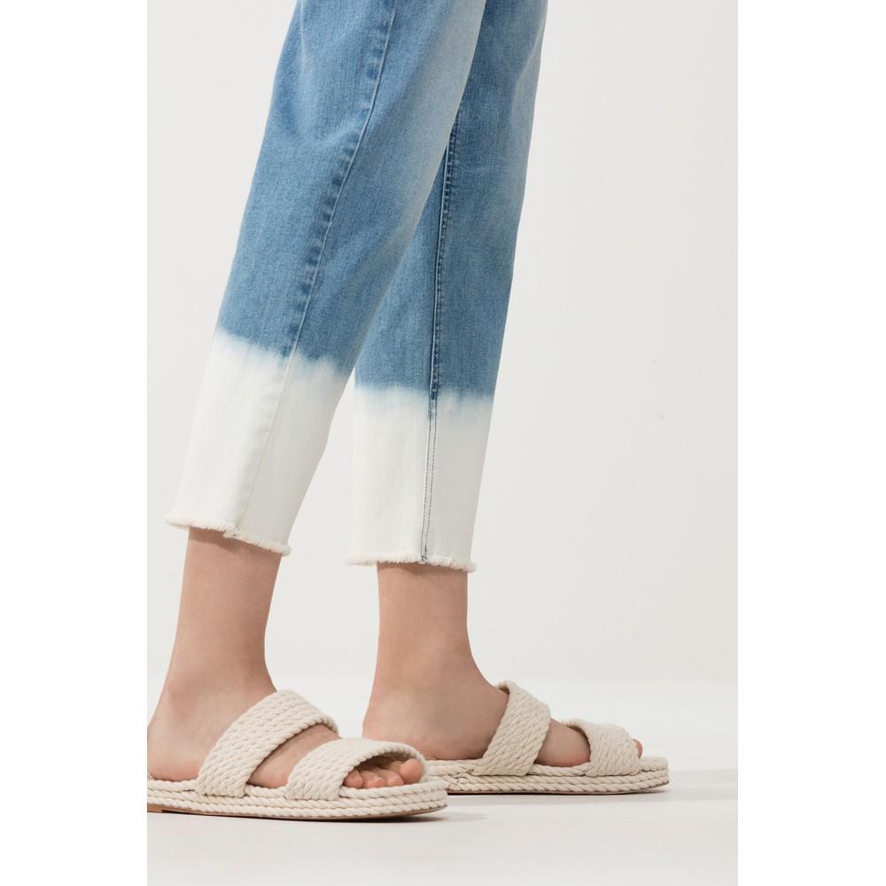 Luisa Cerano Bleached Fringe Trim Jeans Denim/White