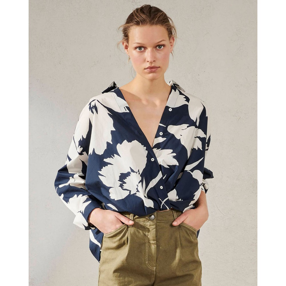 Luisa Cerano Floral Wrap Around Button Blouse Ink/White