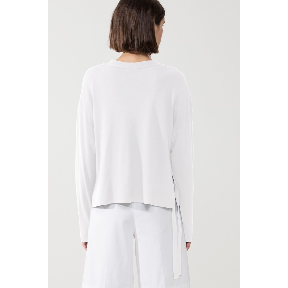 Luisa Cerano Side Ties Open Short Cardigan White