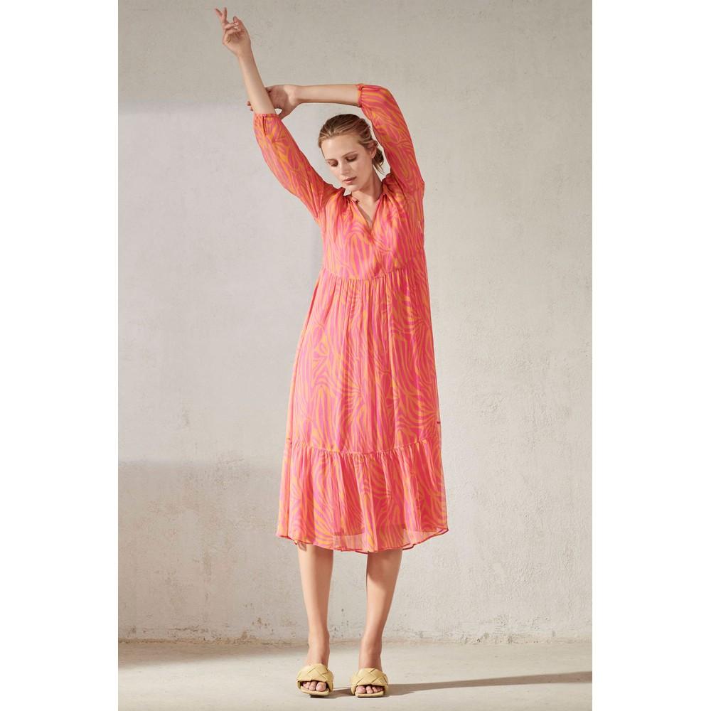 Luisa Cerano Animal Print Sheer Dress with Slip Fuchsia/Yellow