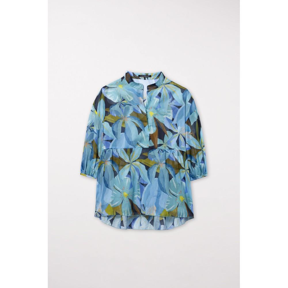 Luisa Cerano Hawaii Print Tunic Top Blue/Multi