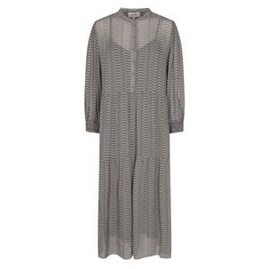 Narissa Sheer Print L/S Dress Charcoal