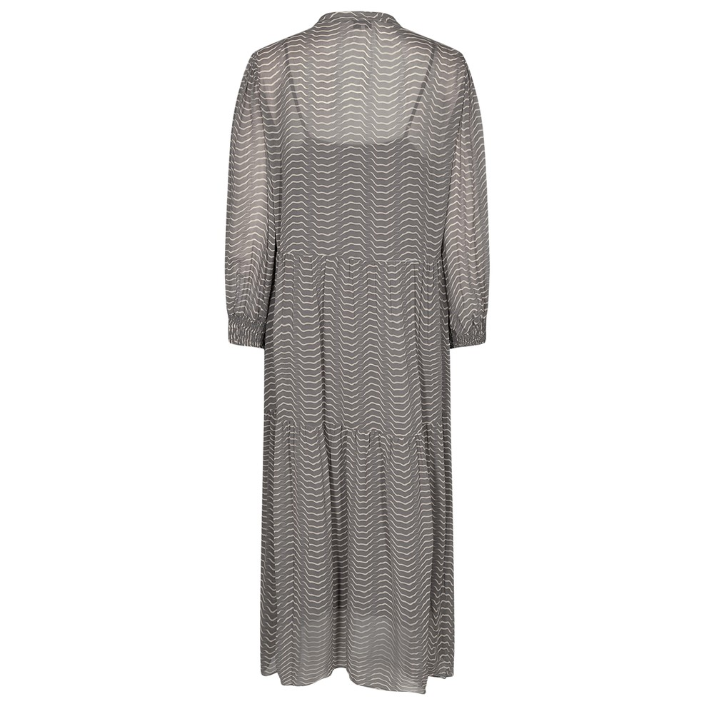 Levete Room Narissa Sheer Print L/S Dress Charcoal