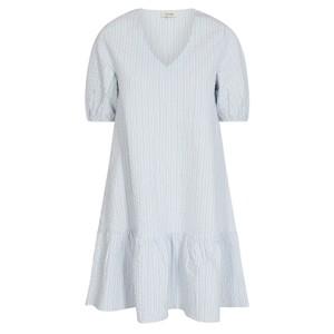 Nina Stripe S/S V/N Dress Heather Blue