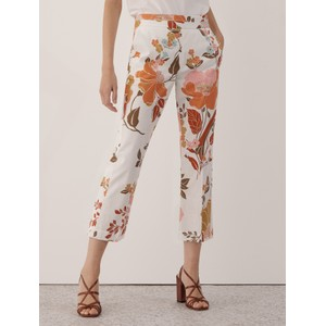Marella Bow Floral Trousers White/Orange/Pink