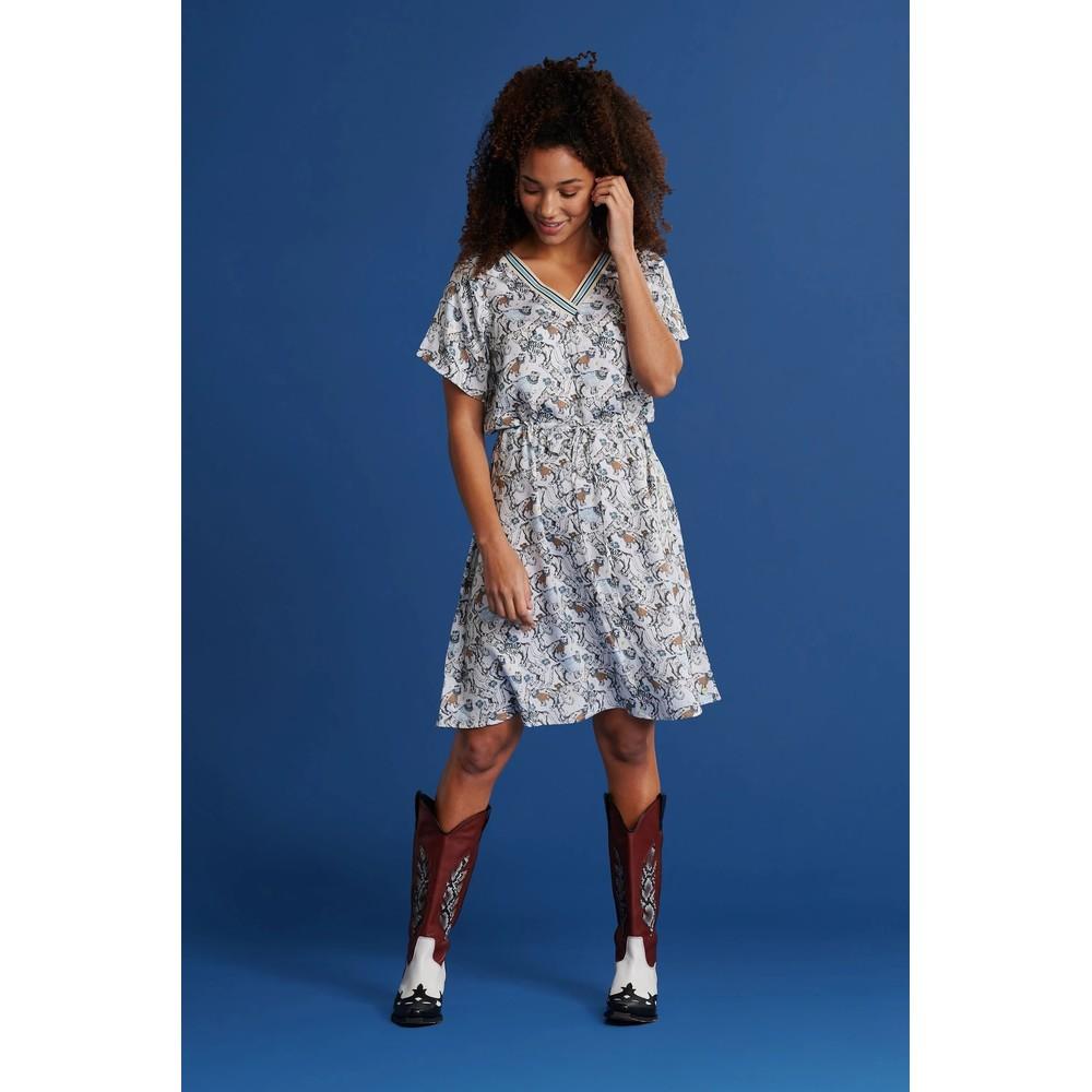 Pom Cheetah Disco Dress Ecru