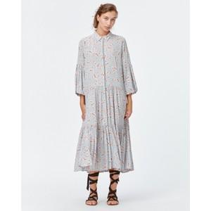 Fond Bell Sleeve Floral Shirt Dress Pale Blue/Peach