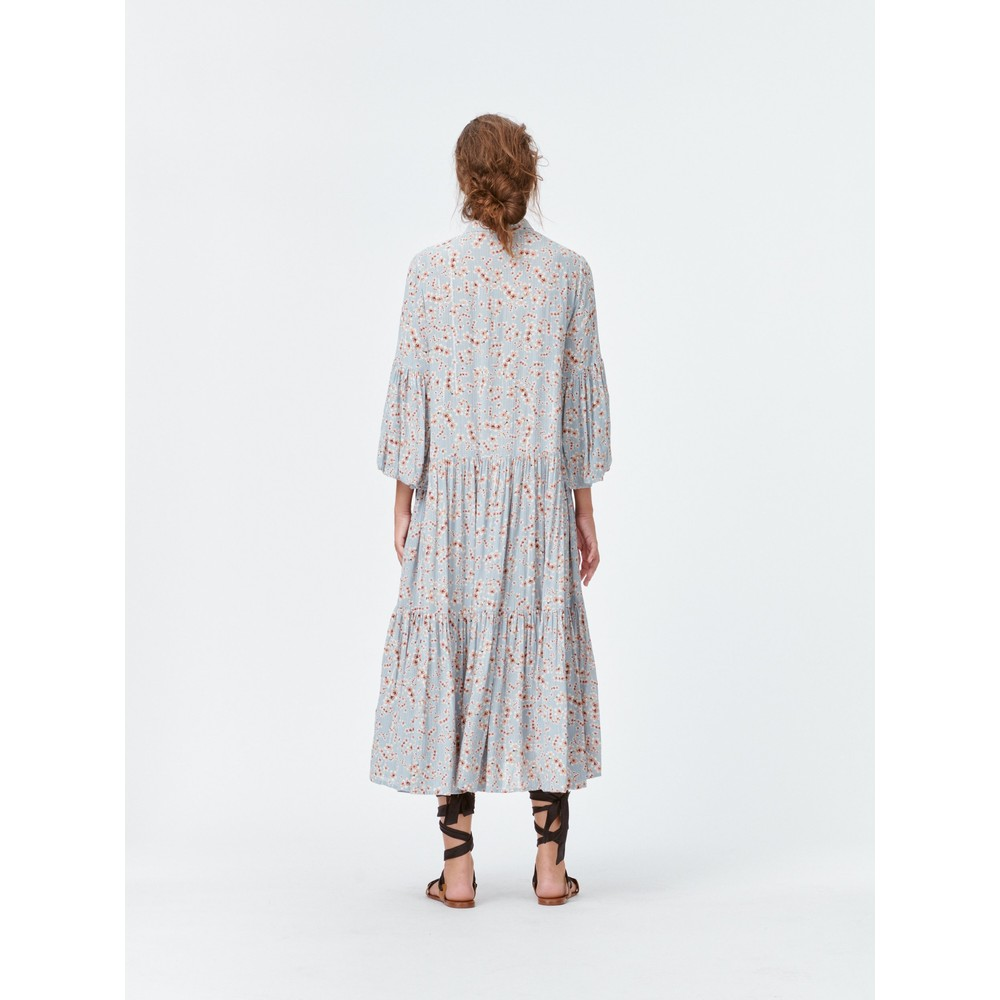 Munthe Fond Bell Sleeve Floral Shirt Dress Pale Blue/Peach