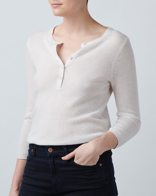 360 Sweater Marylin V-Neck Half Button Top Bisque