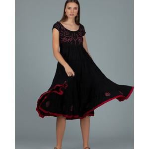 Pranella Emb S/L Dress Navy/Red
