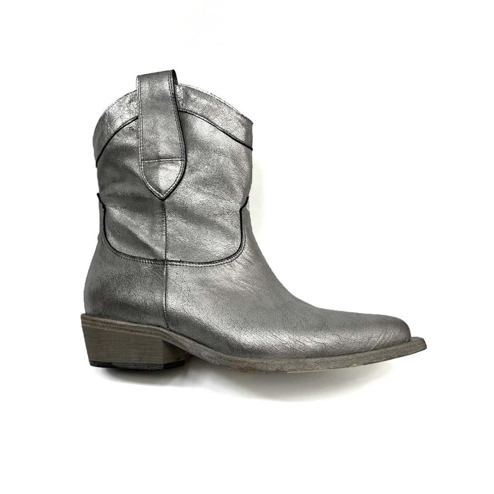 Calpierre Metallic Cowboy Boot Silver