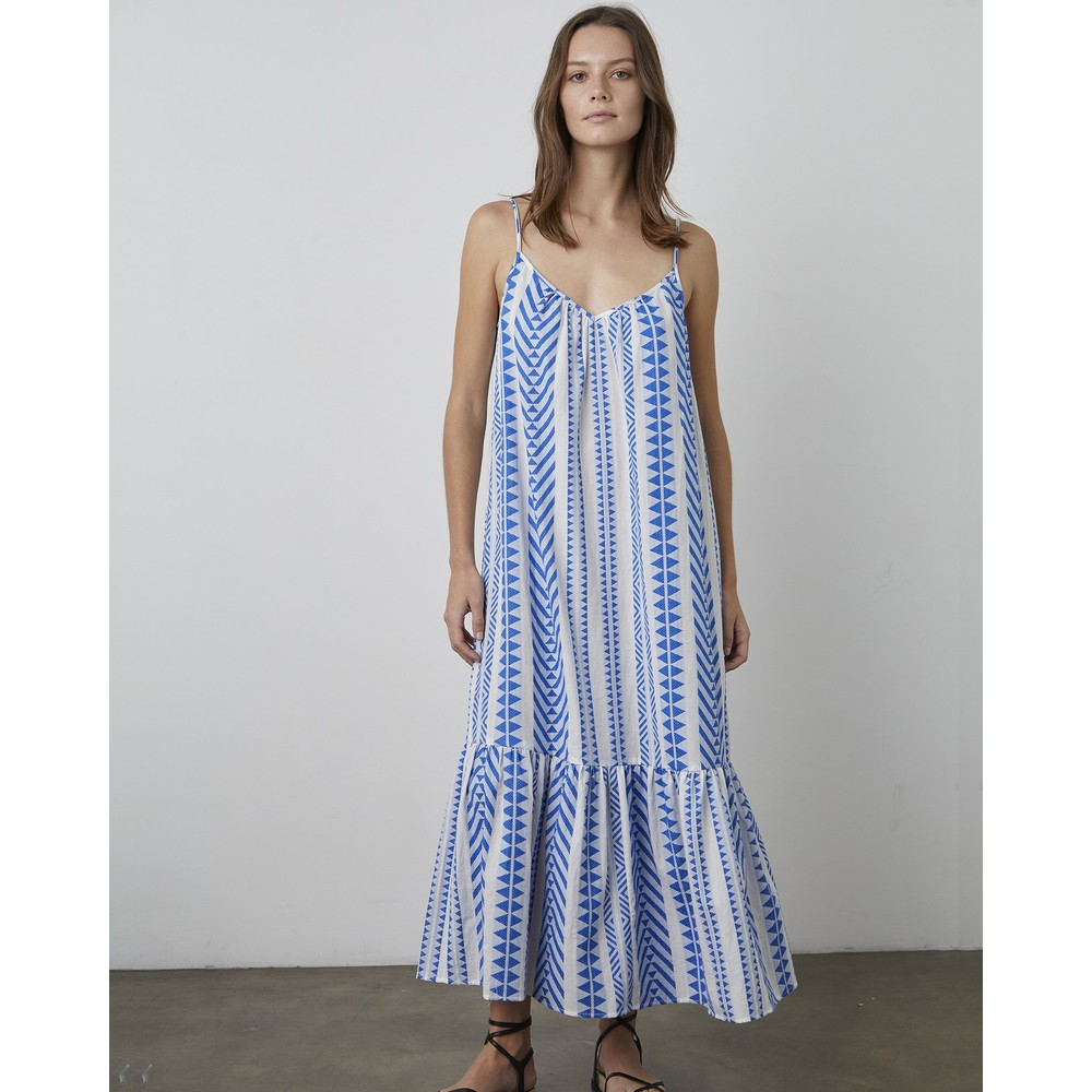 Velvet Dinae Geo Printed Dress Cobalt