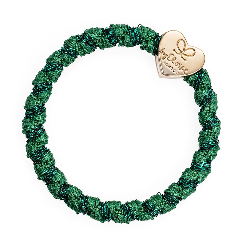 By Eloise Gold Heart Woven Band Chive Green