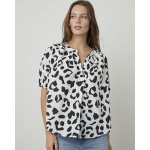Ivonne Leopard Puff Sleeve Blouse White/Black