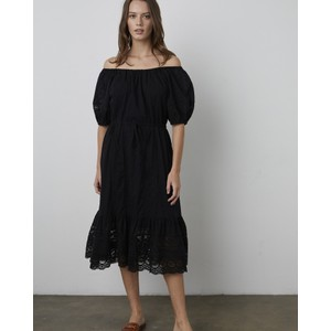 Adalyn Embroidered Lace Detail Dress Black