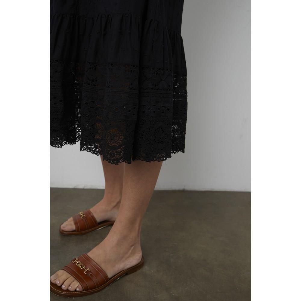 Velvet Adalyn Embroidered Lace Detail Dress Black