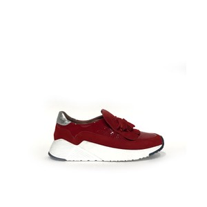 Calpierre Tassle Cut Out Slip On Trainer in Red