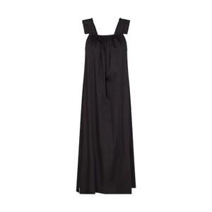 Isla Gathered Strappy Long Dress Black