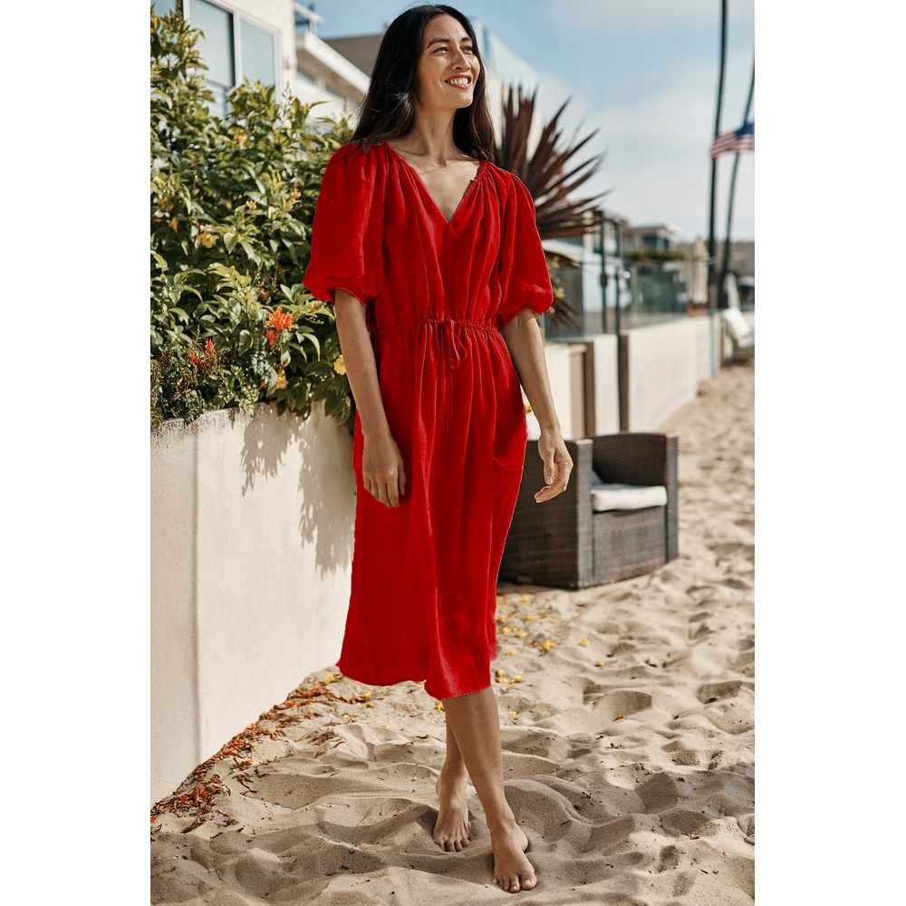 Velvet Susannah Puff Sleeve Dress Rouge