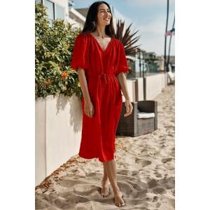 Susannah Puff Sleeve Dress Rouge