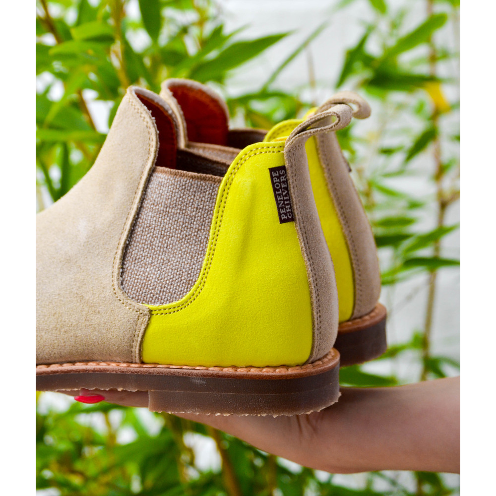 Penelope Chilvers Safari Sherbet Ankle Boots Sand/Neon Yellow