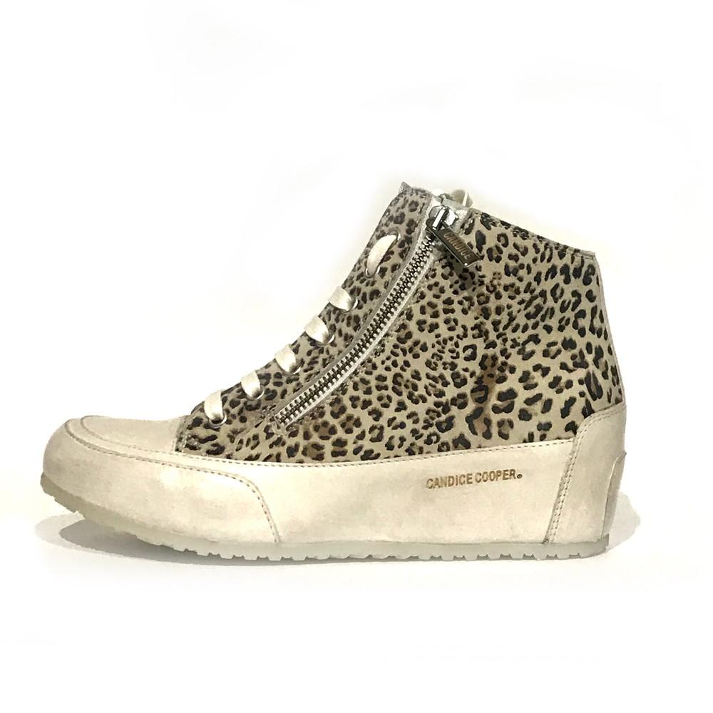 Candice Cooper Fast Zip Leopard Wedge Trainer Natural/Panna