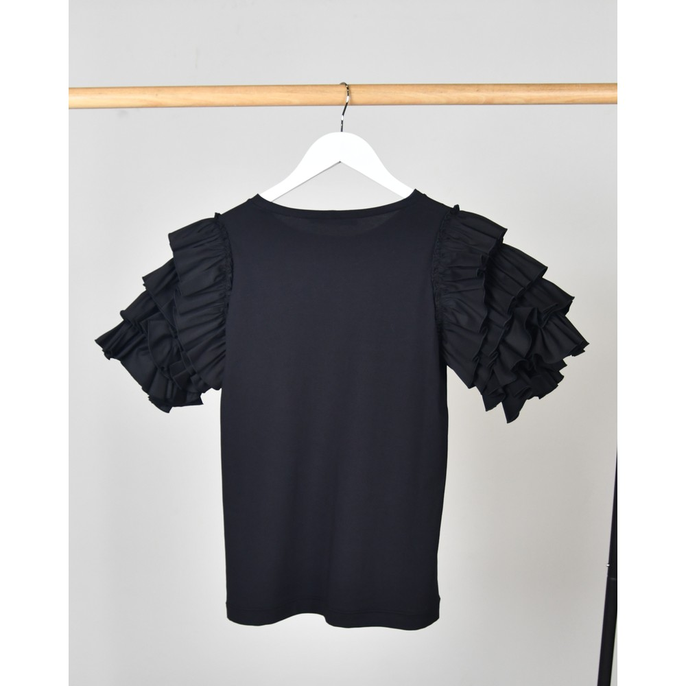 D Exterior Layered Ruffle Sleeves Top Black