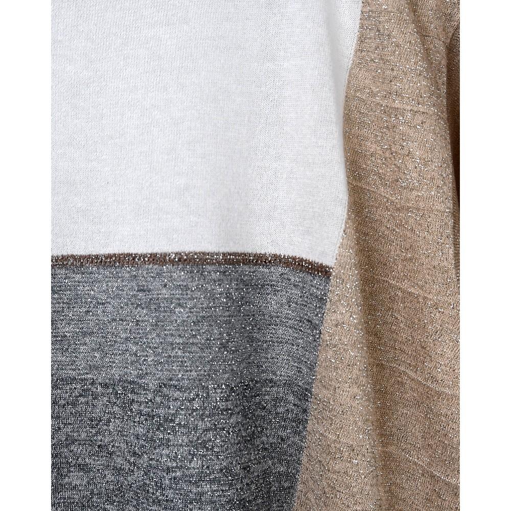 D Exterior Block Colour Wide Neck Lurex Top White/Gold/Silver