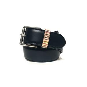 Leather Belt W/Stripe Keeper Navy