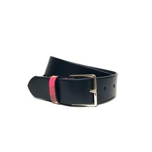 Swirl Loop Leather Belt Dark Navy/Multi