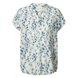 Heather S/S Pintuck Top Creme/Blue