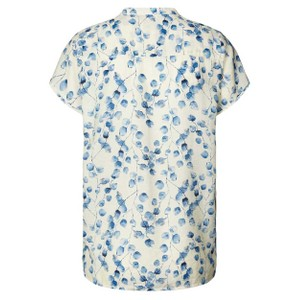 Lollys Laundry Heather S/S Pintuck Top Creme/Blue