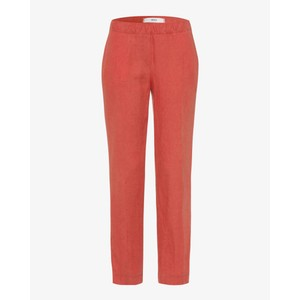 Brax Maron Linen Tapered Trousers Burnt Orange