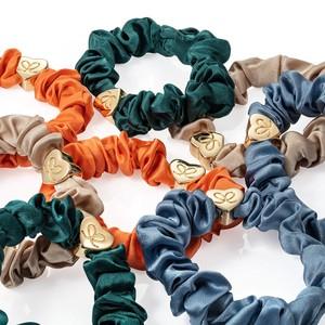 By Eloise Gold Heart Silk Scrunchie Faded Denim